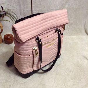 Convertible Nylon Shoulder Bag and Backpack Pink
